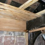 New ceiling joists with new chestnut laths prior to plastering